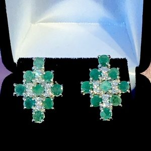 Emerald & Topaz Sterling Silver Earrings